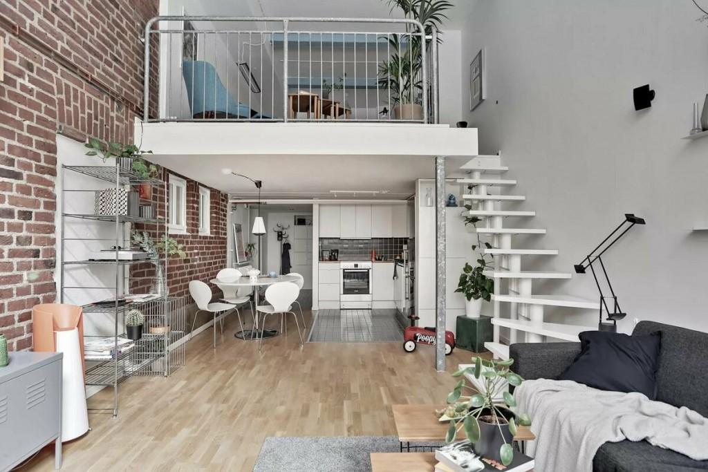 Квартира в стиле лофта с двумя жилыми ярусами