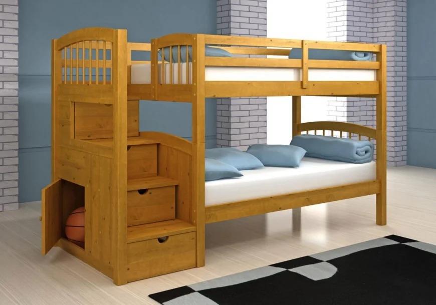 двухъярусная детская кровать из массива дерева