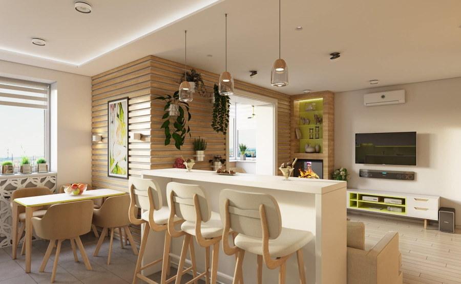 Эко-стиль в оформлении интерьера столовой-гостиной