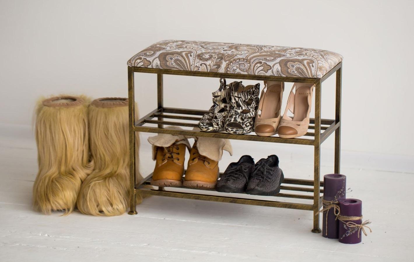 этажерки для обуви с пуфом в прихожую