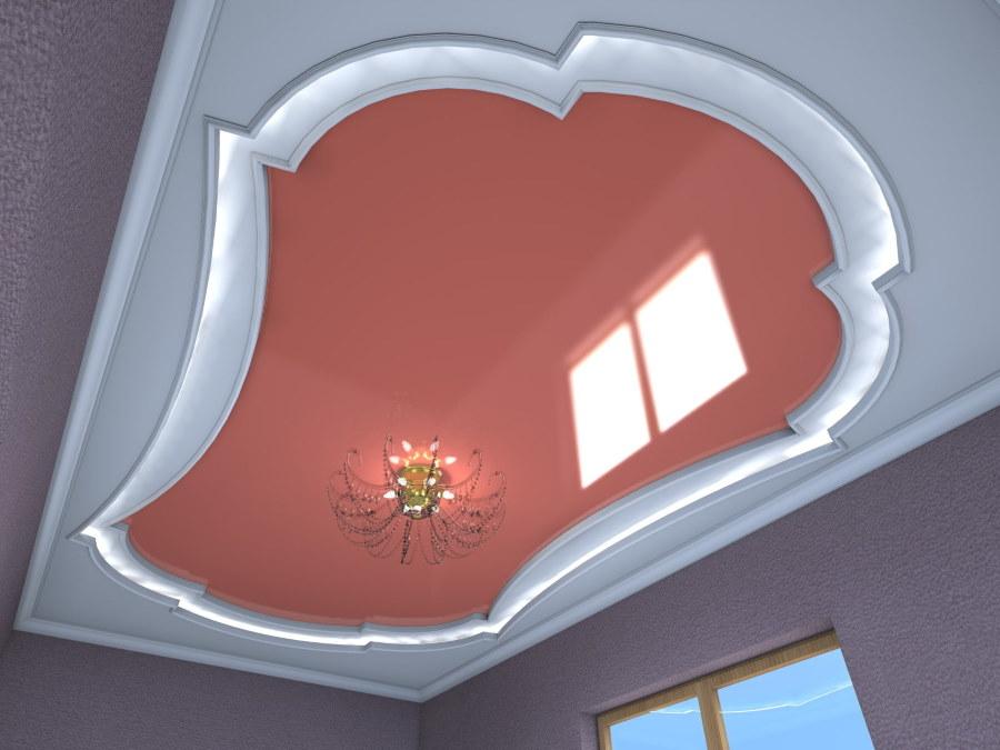 Фигурный натяжной потолок в маленькой комнате