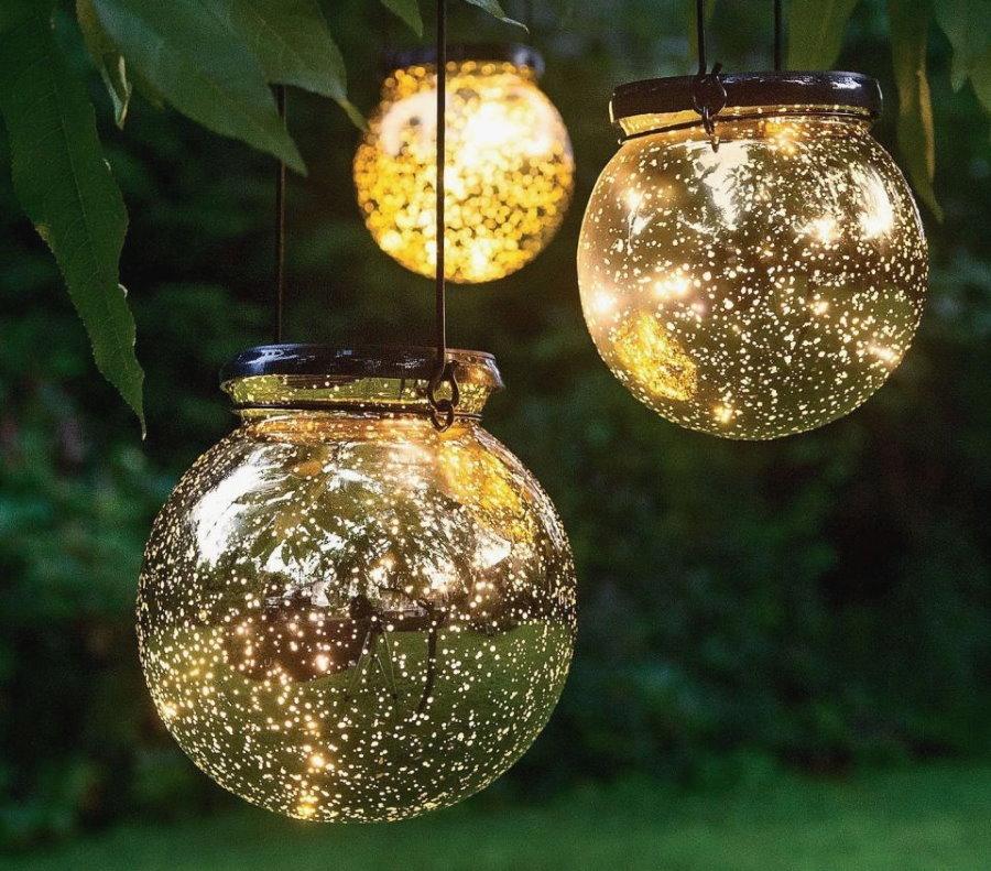 Подвесные светильники для сада из стеклянных банок