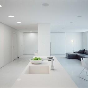 Дизайн белой комнаты в стиле минимализма