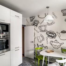 Стильные обои в интерьере кухни