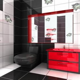 Красная тумба в ванной комнате