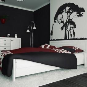 Окраска стен спальни в черный цвет