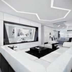 Черно-белая комната в стиле хай-тек