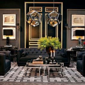 Стильная гостиная с мягкой мебелью