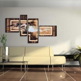 Модульная картина в интерьере зала