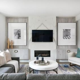 Симметричный декор в интерьере гостиной