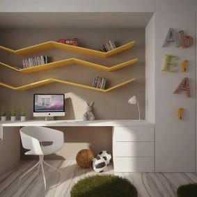 Желтый полки в детской комнате стиля хай тек