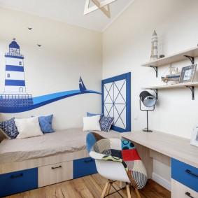 Интерьер детской спальни в морском стиле