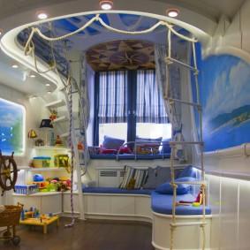 Дизайн комнаты мальчика в морской стилистике