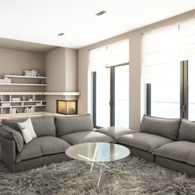 Современная гостиная с двумя диванами в стиле хай-тек