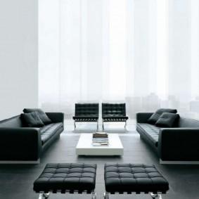 Черная мебель для гостиной высокотехнологичного стиля
