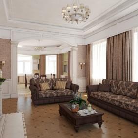 Паркетный пол в гостиной классического стиля