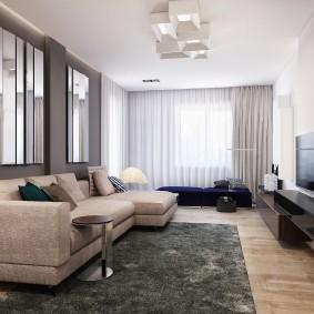 Мягкая мебель в гостиной комнате стиля минимализма