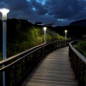 Парковые светильники на деревянном мостике