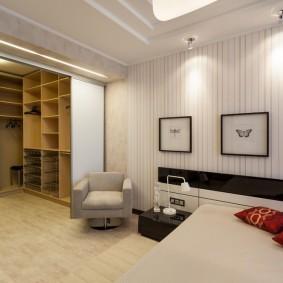 Зонирование спальни с просторным гардеробом