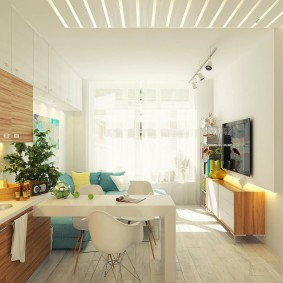Светлая комната с мебелью в ретро стиле