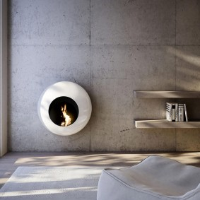 Настенный камин в стиле минимализма