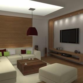 Дизайн гостиной без окна в современном стиле