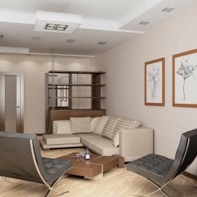 Дизайн маленькой гостиной с модульными картинами