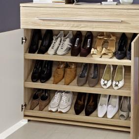 Женские туфли на полках обувницы
