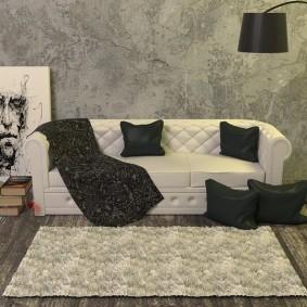 Небольшой коврик в гостиной минималистического дизайна