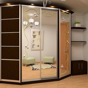 Трапециевидный шкаф-купе в прихожей комнате