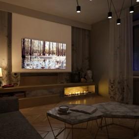 Освещение в спальной комнате с телевизором
