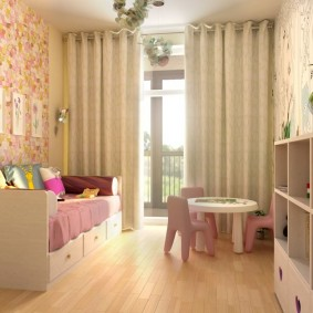 Интерьер небольшой комнаты для девочки