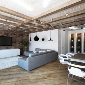 Дизайн комнаты в стиле лофта в квартире-студии
