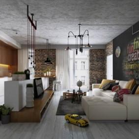 Кухня-гостиная с бетонным потолком