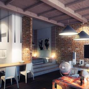 Деревянный потолок в кухне-гостиной