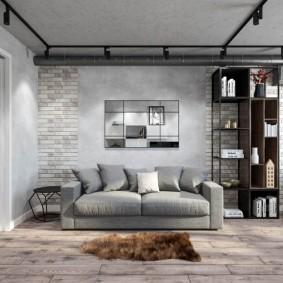 Раскладной диван серого цвета