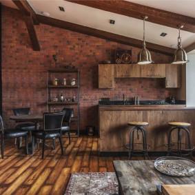Деревянный гарнитур в стиле лофта