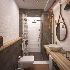Дизайн ванной комнаты в стиле лофта
