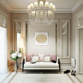 Мягкая мебель в интерьере прихожей