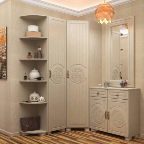Светлая отделка мебели для коридора