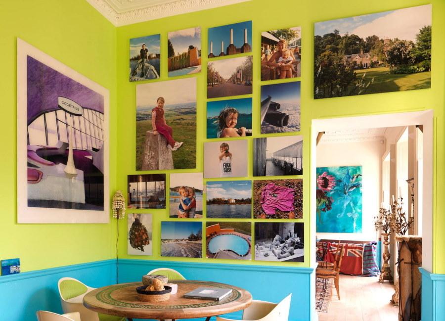Любимые фотографии на стене кухни в квартире