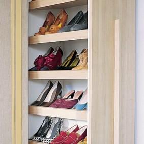 Встроенная обувница с женскими туфлями