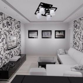 Черно-белые обои в небольшой спальне