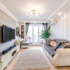 Выбор обоев для интерьера узкой гостиной