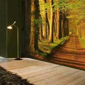 Фотообои с перспективой в интерьере комнаты