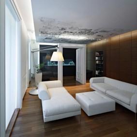 Белая мебель в комнате с парящим потолком