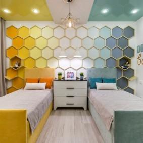 Зонирование цветом комнаты для двоих детей