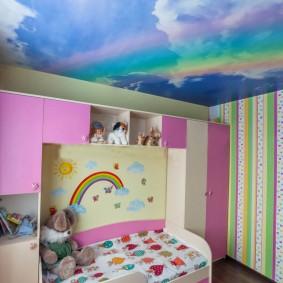 Полосатые обои в детской комнате
