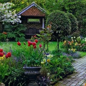Садовая клумба с красными тюльпанами