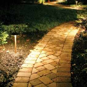 Низкие светильники около дачной тропинки